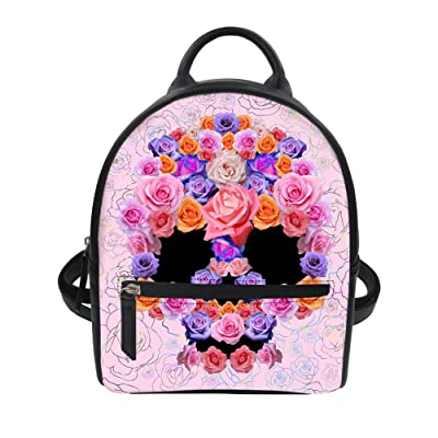 c1c0d64057468e Mumeson Punk Skull Women Girls Mini Backpack Purse Small Casual Daypack  Bookbag
