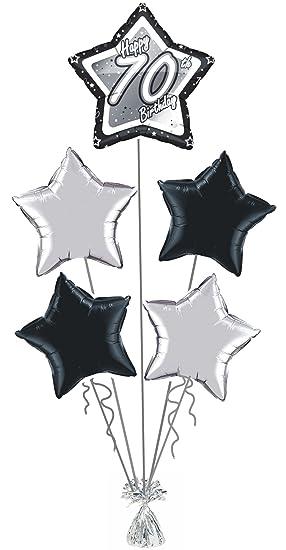 70th BIRTHDAY BLACK SILVER STAR DESIGN FOIL HELIUM BALLOON DISPLAY