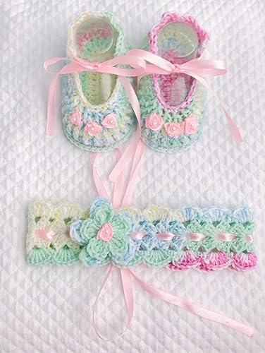 Set conjunto de bebé con rosellin | banda de pelo y zapatos crochet ...