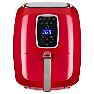 Best Choice Products 5.5qt 7-in-1 Electric Digital Family Sized Air Fryer Kitchen Appliance w/LCD Screen, Non-Stick Coating, Temp Control, Timer, Removable Fryer Basket - Red