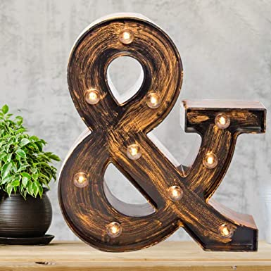 Amazon Com Pooqla Vintage Light Up Marquee Letters With Lights Illuminated Industrial Style Lighted Alphabet Letter Signs Coffee Bar Apartment Bedroom Wall Home Initials Decor Home Kitchen