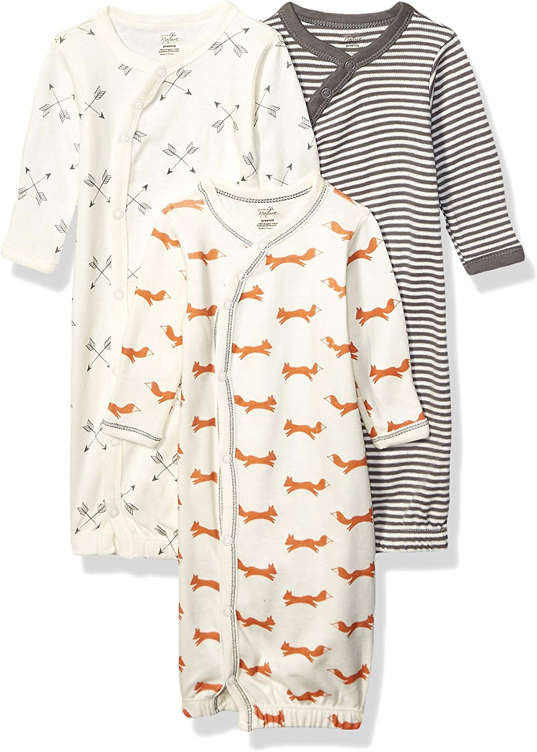 Fox Touched by Nature Baby Organic Cotton Kimono Gowns 0-6 Months