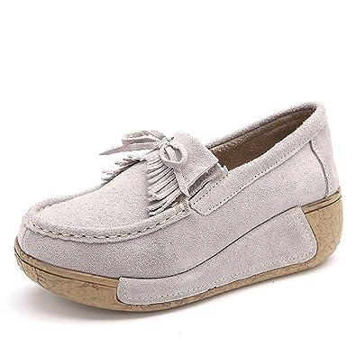 Winter Faux Fur Moccasins Women Slip On Platform Suede Loafers Wide Width Comfort Work Shoes