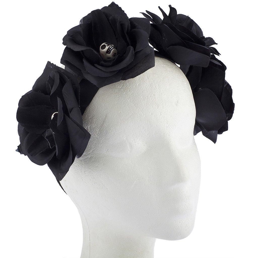 Black Flower Crown Gothic Flower Crown Black Flower: Lux Accessories Black Gothic Skull Skeleton Head Halloween