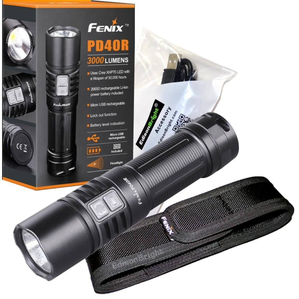 FENIX PD40R USB Rechargeable 3000 Lumen Cree XHP-70 LED Flashlight with, rechargeable battery and EdisonBright USB charging cable bundle