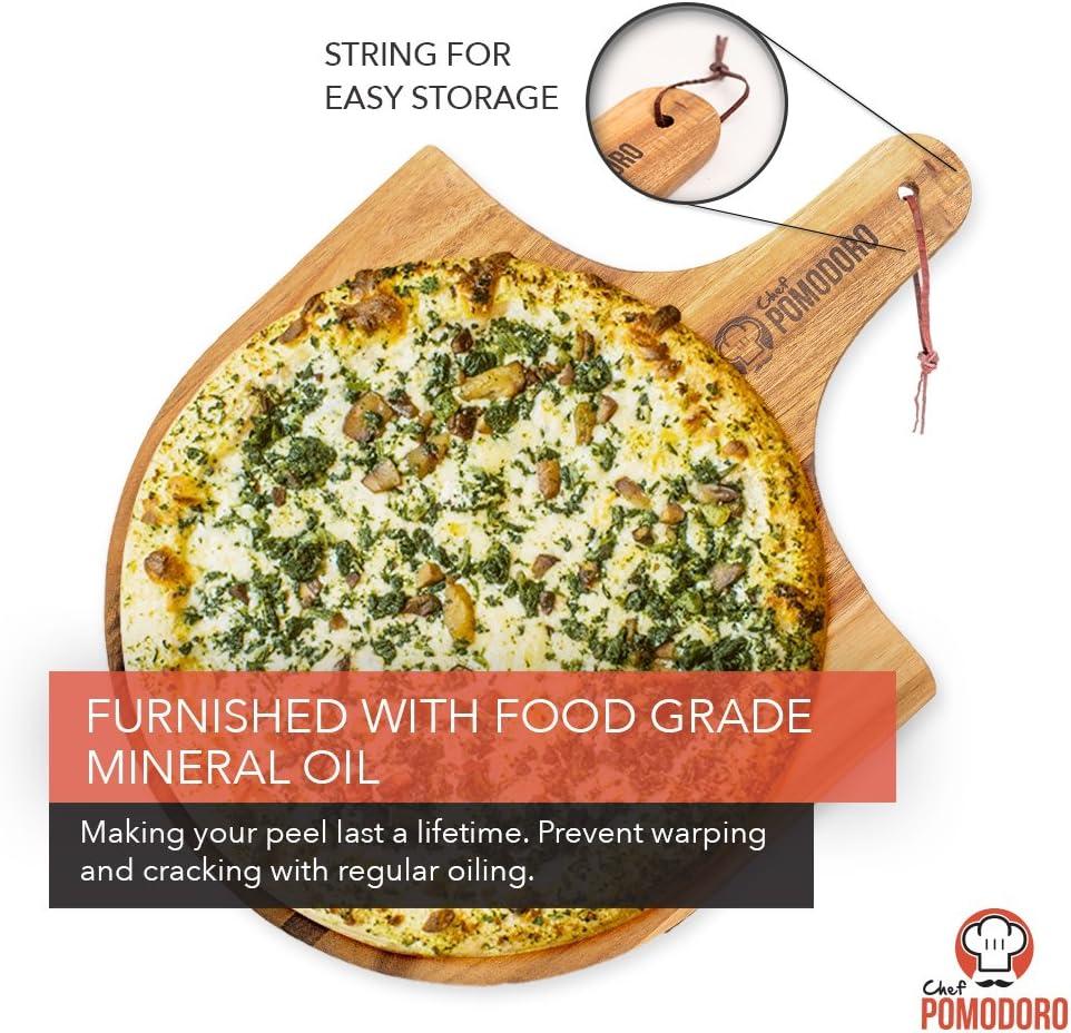 planche /à charcuterie Planche /à d/écouper ronde multi-usage planche /à pizza et planche /à pain Pelle /à pizza en bois d/'acacia naturel de Chef Pomodoro