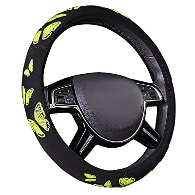 CAR-PASS Pretty Butterfly Universal Steering Wheel Cover,Fit for Suvs,Vans,Trucks,Sedans,Cars (Black and Yellow): Automotive [5Bkhe1001577]