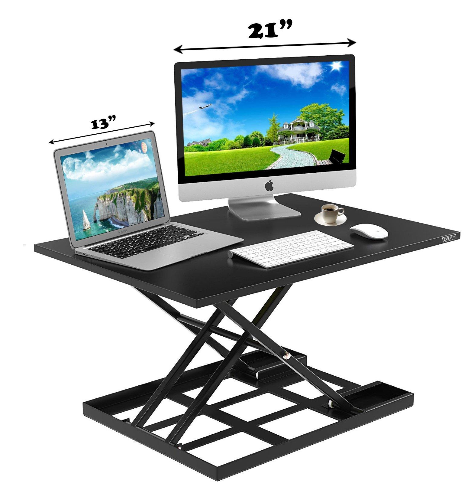 Standing Desk Stand Up Desks Height Adjustable Sit Stand Converter Laptop Stands Large Wide Rising Black Dual Monitor PC Desktop Computer Riser Table Workstation Foldable Extender Ergonomic 32 inch by Defy Desk (Image #6)