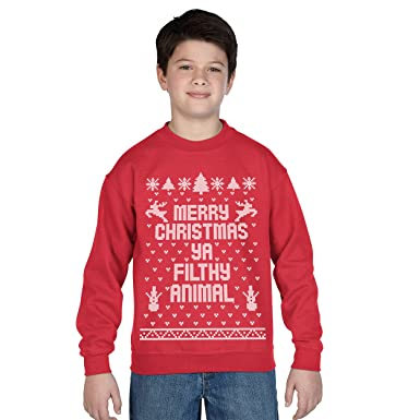 7a0211f7c Merry Christmas Ya Filthy Animal Ugly Christmas Sweater Contest Party Xmas  Youth Sweatshirt Small Red