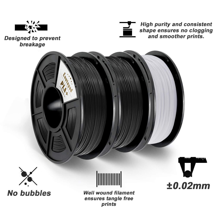 3D Printer Filament,0.5KG*3 Spools 3.3lbs ,Dimensional Accuracy 1.75mm+//-0.02mm,Filament 3D Printing Materials,Suit for most 3D Printer//3D pen,Enotepad Black+White+Black PLA+ PLA