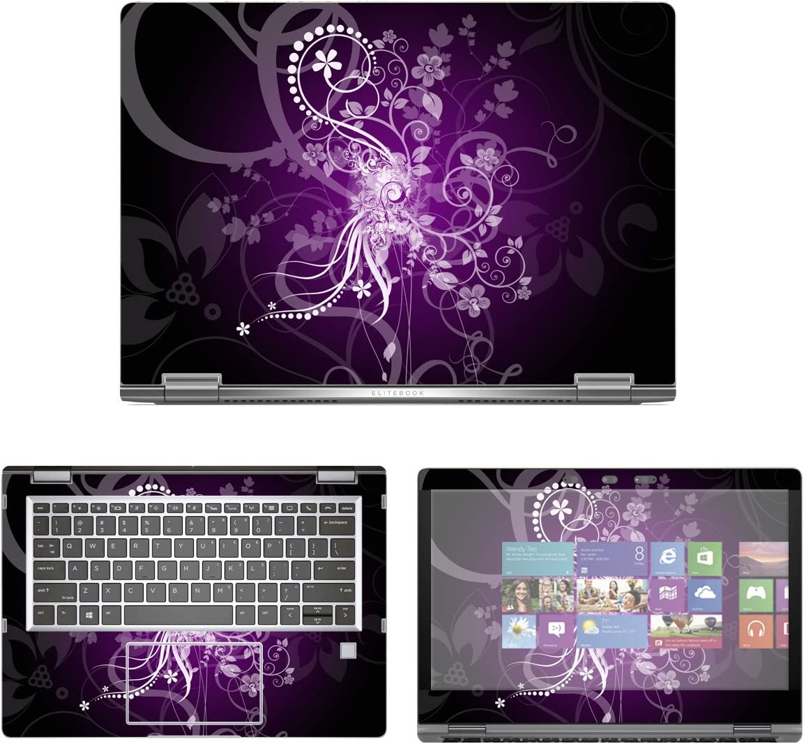 """decalrus - Protective Decal Floral Skin Sticker for HP EliteBook X360 1030 G2 (13.3"""" Screen) case Cover wrap HPelitebk1030g2-15"""