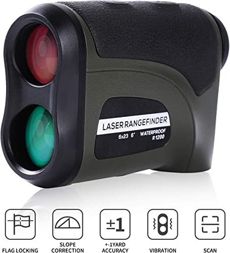 Donzy Laser Rangefinder with Slope – Range Golf Rangefinder with 6X Magnification for Golf and Field Hunting, Continuous Scanning Waterproof Laser Golf Rangefinder with Battery