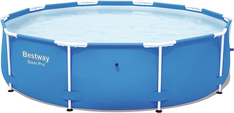 Bestway Steel Pro 56677 - Piscina (Piscina con Anillo Hinchable, Círculo, 4678 L, Azul, PVC, Poliéster, Acero, 0,8 mm)