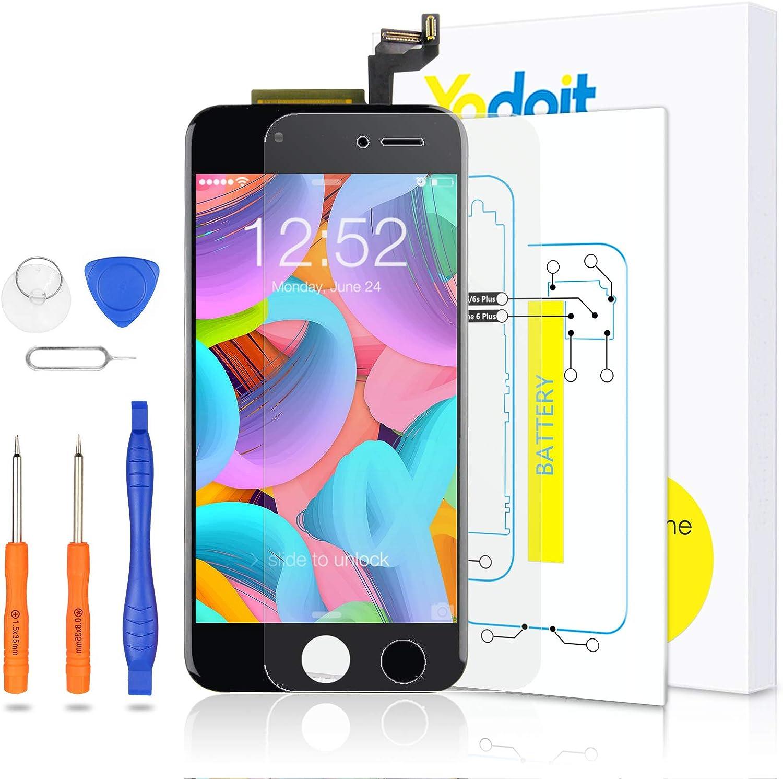 Yodoit para Pantalla iPhone 6s Negro, Conjunto de Pantalla LCD y digitalizador Reemplazo de la Pantalla táctil de Vidrio con Marco + Kit de ...