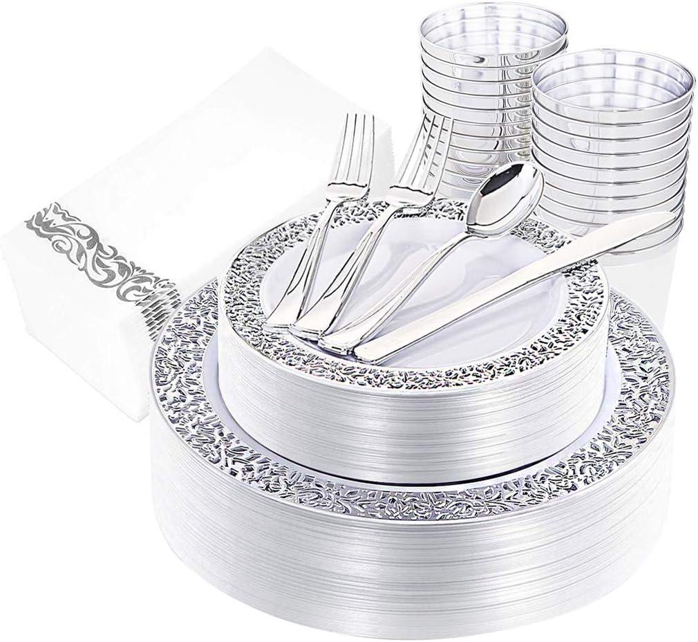 160 piezas Platos de plástico plateados, cubiertos, vasos de plata y servilletas de mano Incluye 40 tenedores, 20 cucharas, 20 cuchillos, 20 platos de cena, 20 platos de postre, 20 vasos, 20 toallas