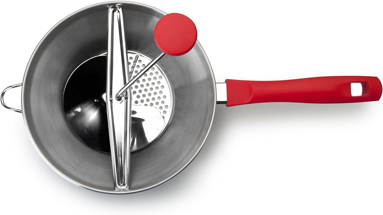 Edelstahl 4-Einheiten 20 x 20 x 25 cm Silber//rot IBILI Passierger/ät-Set Luxe mit 3 Scheiben 20 cm