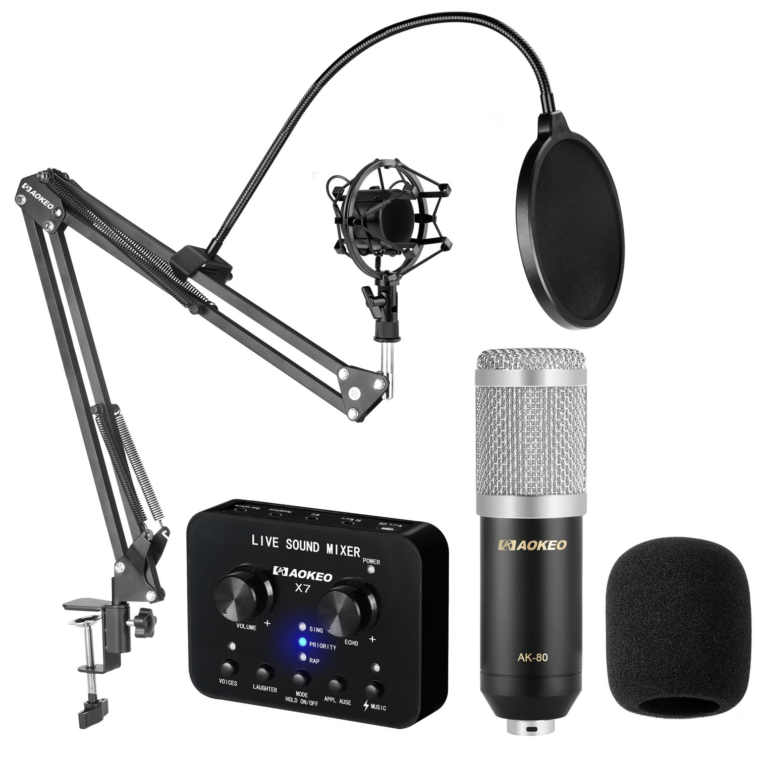 Aokeo AK-70 Professional Studio Live Stream Broadcasting Recording Condenser Microphone With Folding Adjustable Tripod Boom Floor Stand, Shock Mount, Pop Filter, USB Sound Card and Mounting Clamp 6191