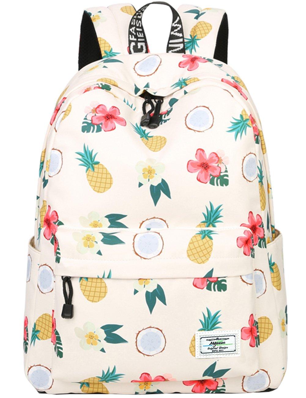 School Bookbags for Girls, Cute casual lightweight Pineapple Backpack College Bags Women Daypack Travel Bag by Mygreen (Beige)