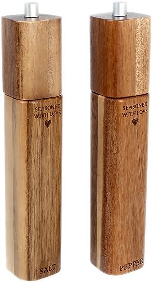 27 Cm Gross Mit Love Holz Salz Und Pfeffermuhle Pfefferstreuer Amazon De Kuche Haushalt
