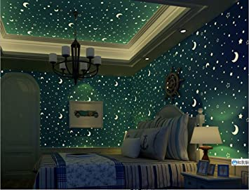 3d Star Galaxy Wallpaper Luminous Fluorescent Cartoon For Kids Girls Boys Bedroom Living Room Tv Background Wall Corner Decorations 20 8in X 32 8ft Sky Blue Amazon Com