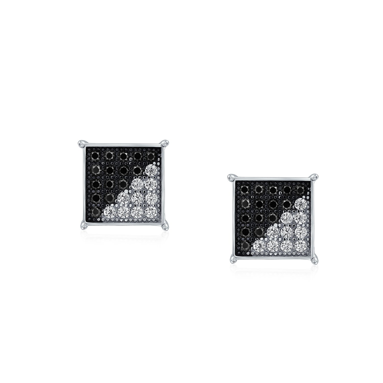 805db4ffd Amazon.com: Black White Cubic Zirconia Micro Pave CZ Square Stud Earrings  For Men 925 Sterling Silver 8MM: Jewelry