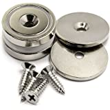 "Two Sets of CMS Magnetics 1.26"" Neodymium Cup Magnets w/ Matching Strikers and Screws - 70 LB and Up to 88 LB Holding Power"