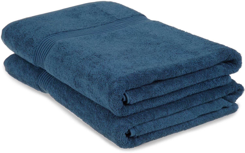 Superior 100% Egyptian Cotton Solid Bath Sheet Set, Sapphire, 2-Piece