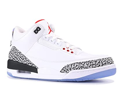 new arrival 27dc8 09b9e Image Unavailable. Image not available for. Color  Nike Air Jordan 3 Men s  Retro NRG, White Fire Red-Cement Grey,