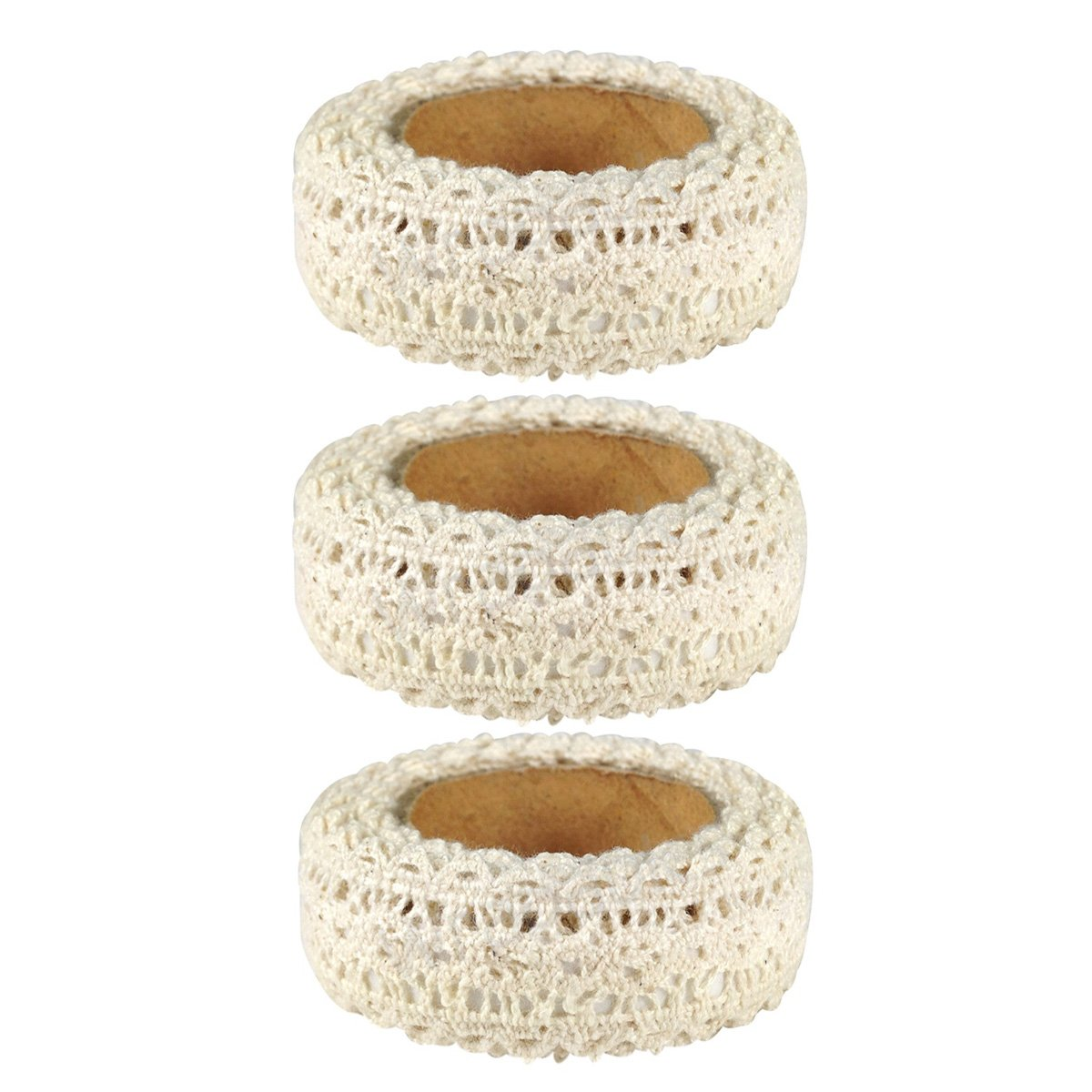 AllyDrew Decorative Craft Tapes Masking Lace Tapes Washi Tapes, Set of 3 (Beige)