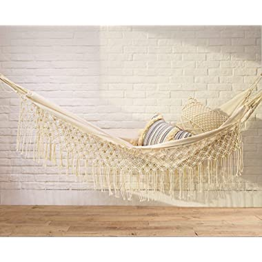Flber Macramé Hammock Stand White Bohemian Camping Hammock Double Swing Portable,2-3 Adults (79  L59 W)
