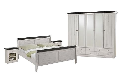 Steens Monaco Schlafzimmer, Kiefer massiv, 3-teiliges Set, Bett ...