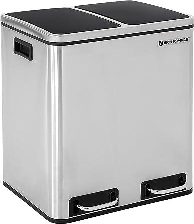 SONGMICS Mülleimer für die Küche, 30 L, Abfalleimer aus Metall, Mülltrennung, Treteimer mit Inneneimern und Griffen, 2 x 15 Liter, Softclose,