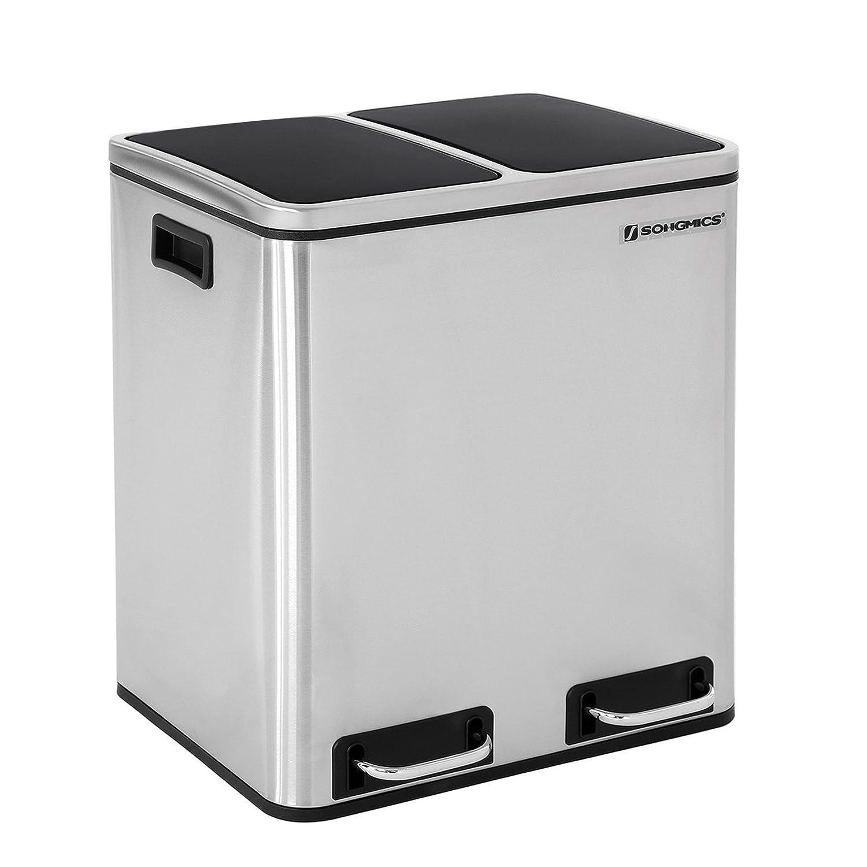 SONGMICS Basurero Reciclaje Cubo de Basura Cubo de Cocina de Acero Inoxidable con 2 Cubetas Interiores con Pedal Aislar el Olor 2 x 15 L Plata LTB30H