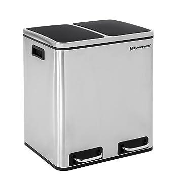 GroBartig SONGMICS 30 L Mülleimer Mülltrennung Mülltrennsysteme Mit 2 Inneneimern  Treteimer Für Küche Edelstahl 2 X 15