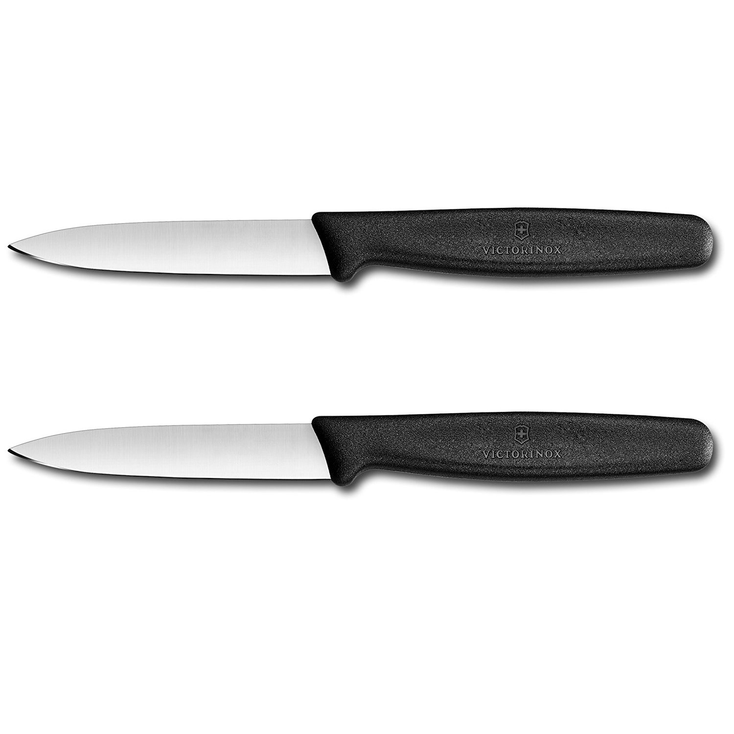 Victorinox Swiss Stainless Steel Paring Knife 3.25 Inch (Set of 2) Black Straight Edge, Spear Point