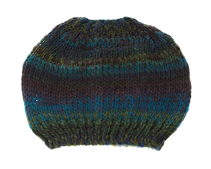 Colorful Crochet Knit Messy Mom Bun Beanie Toboggan Hat for Women Ponytail  Hole (Blue Green 710f5041ccc