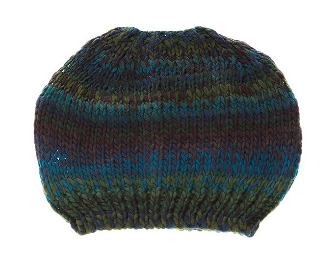 Colorful Crochet Knit Messy Mom Bun Beanie Toboggan Hat for Women Ponytail  Hole (Blue Green 5184442571f