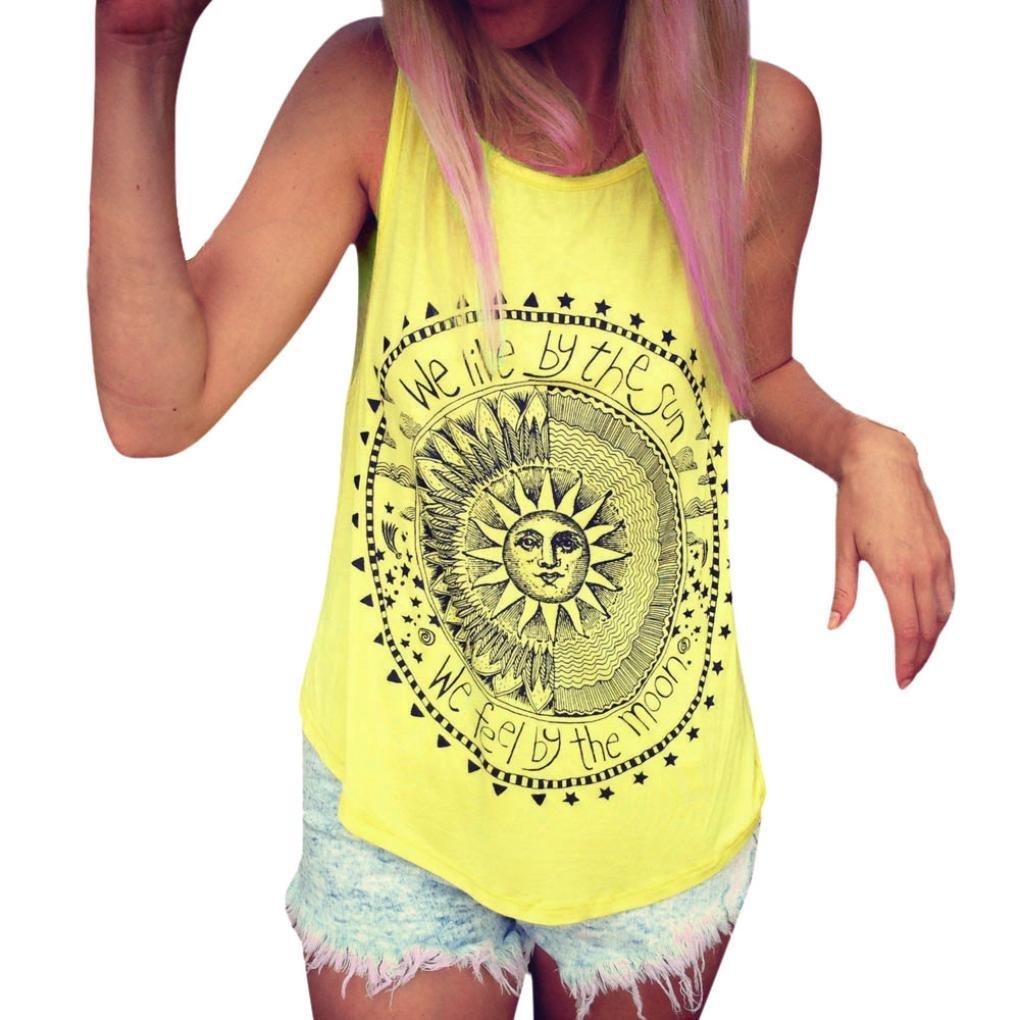 Clearance! Ruhiku GW Women Voyage Printed Tank Tops Sleeveless T-Shirt Comfy Blouse Casual Vest Tops Loose Summer Shirts (Yellow, M)
