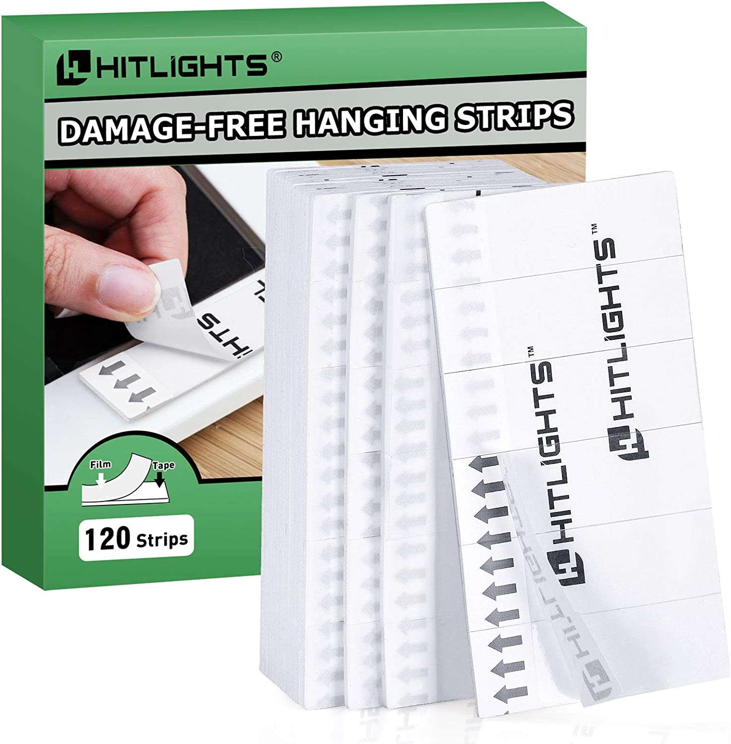 HitLights Picture Hanging Strips, 120pcs Replacement Waterproof Heavy Duty Double Sided Strips, Decorate Without Damage for Wall Art, LED Lights, Home, Office | 1.8in x 0.6in Strip, White