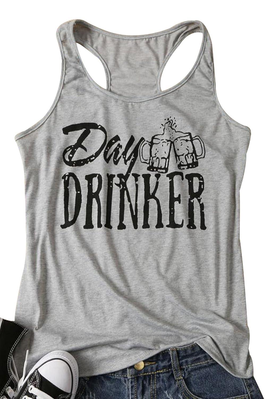 NANYUAYA Women Day Drunker Beer Tank Top Graphic Print Loose Racerback Cami Blouse