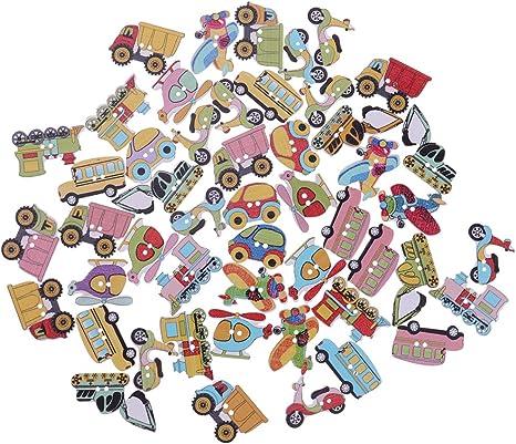 50pcs Mixed Wooden Buttons Cartoon Number Buttons Sewing Buttons Kids Craft