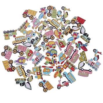 Amazon.com: JiaUfmi - Botones de madera con 2 agujeros para ...