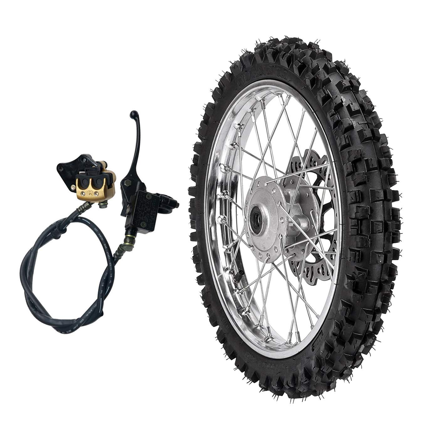ZXTDR 2.50-14 1.4x14 inch Wheel With 12mm Bearing Axle 60//100-14 Tire Rim and Disc Roto Assembly /& Front Hydraulic Brake for Dirt Pit Bike