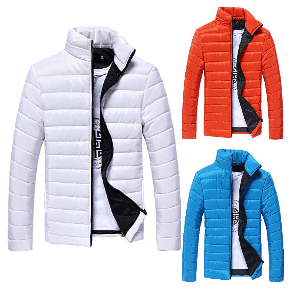 Clearance Down Coat,Boys Men Fashion Solid Warm Stand Collar Slim Jacket Plus Size Outwear