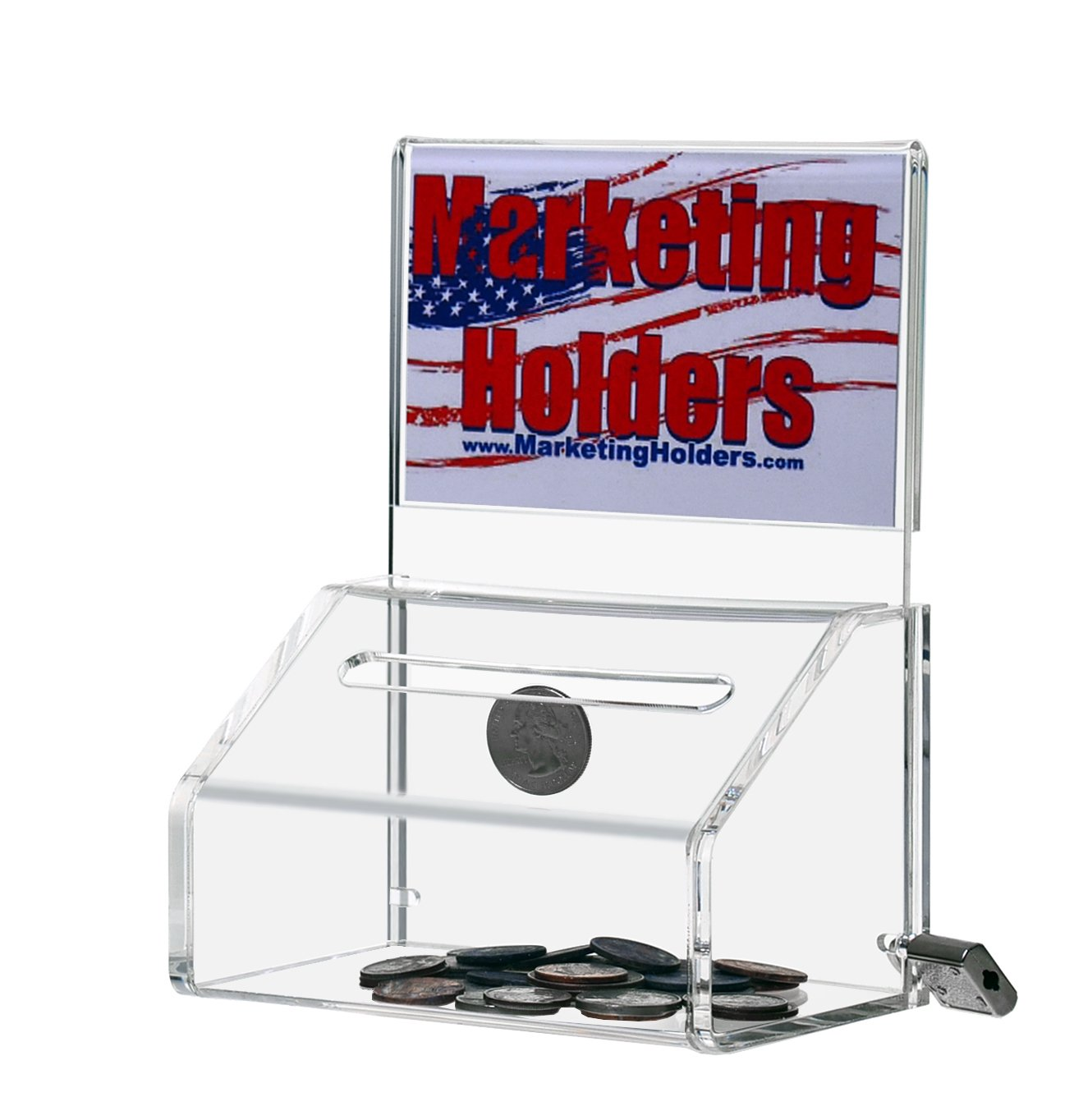 Marketing Holders LOT OF 24 Small Clear Locking Donation Container 5'' w with Header by Marketing Holders (Image #1)