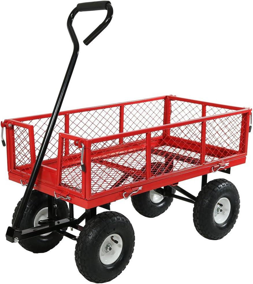 Sunnydaze Garden Cart, Heavy Duty Collapsible Utility Wagon, 400 Pound Capacity, Red