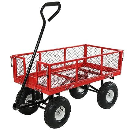 Bon Sunnydaze Garden Cart, Heavy Duty Collapsible Utility Wagon, 400 Pound  Capacity, Red