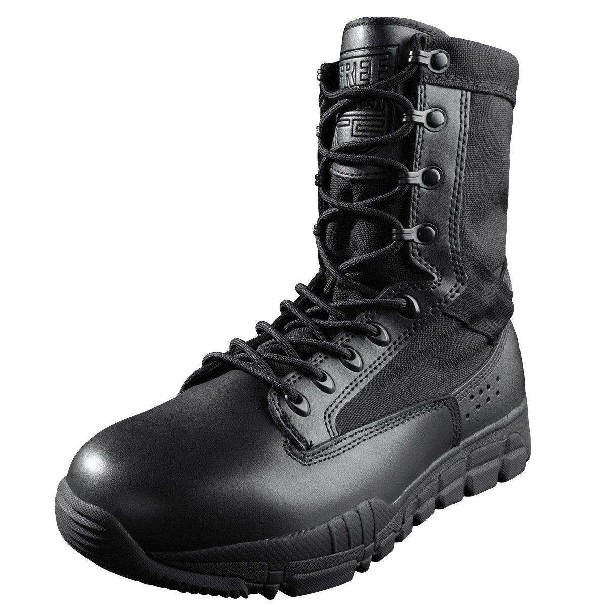 Free Soldier Mens Military Boots 8インチDeeply鋸歯状つま先とヒールバンパーデザートタンタクティカルブーツ B07489PVQS 10 D(M) US|ブラック ブラック 10 D(M) US