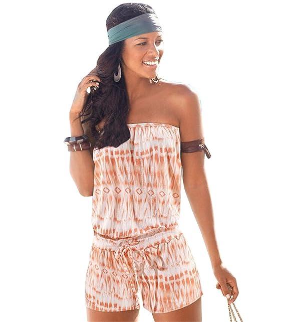 c5097ca116e1 COCO clothing Overall Damen Bedruckte Schulterfrei Jumpsuits Sommer Playsuit  Bandeau Carmen-Ausschnitt Tailliert  Amazon.de  Bekleidung