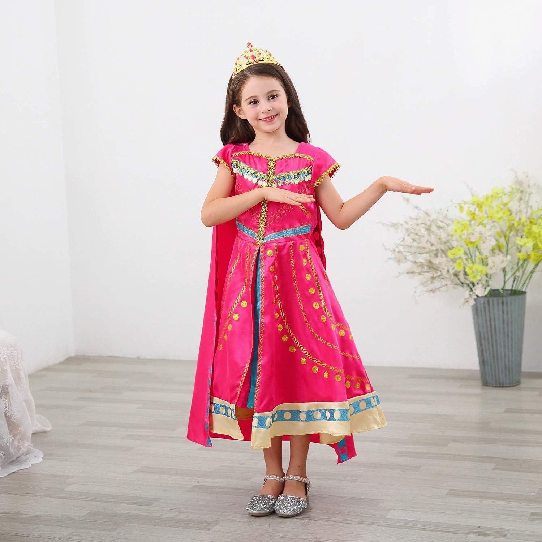 4-5 Romy/'s Collection Jasmine Pink Princess Toddler Girls Costume Dress Up Set